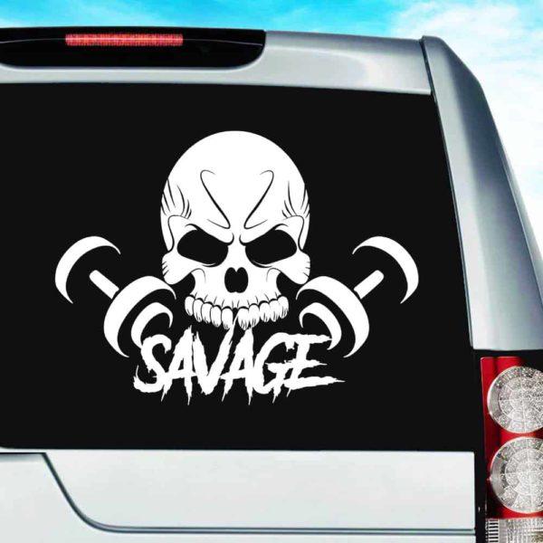 Savage Skull Dumbbells_1 Vinyl Car Window Decal Sticker