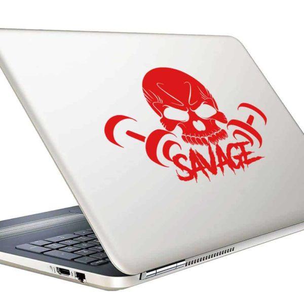 Savage Skull Dumbbells_1 Vinyl Laptop Macbook Decal Sticker