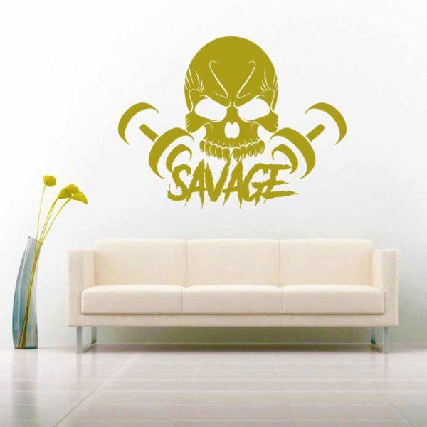 Savage Skull Dumbbells_1 Vinyl Wall Decal Sticker