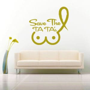 Save The Ta Tas Breast Cancer Vinyl Wall Decal Sticker