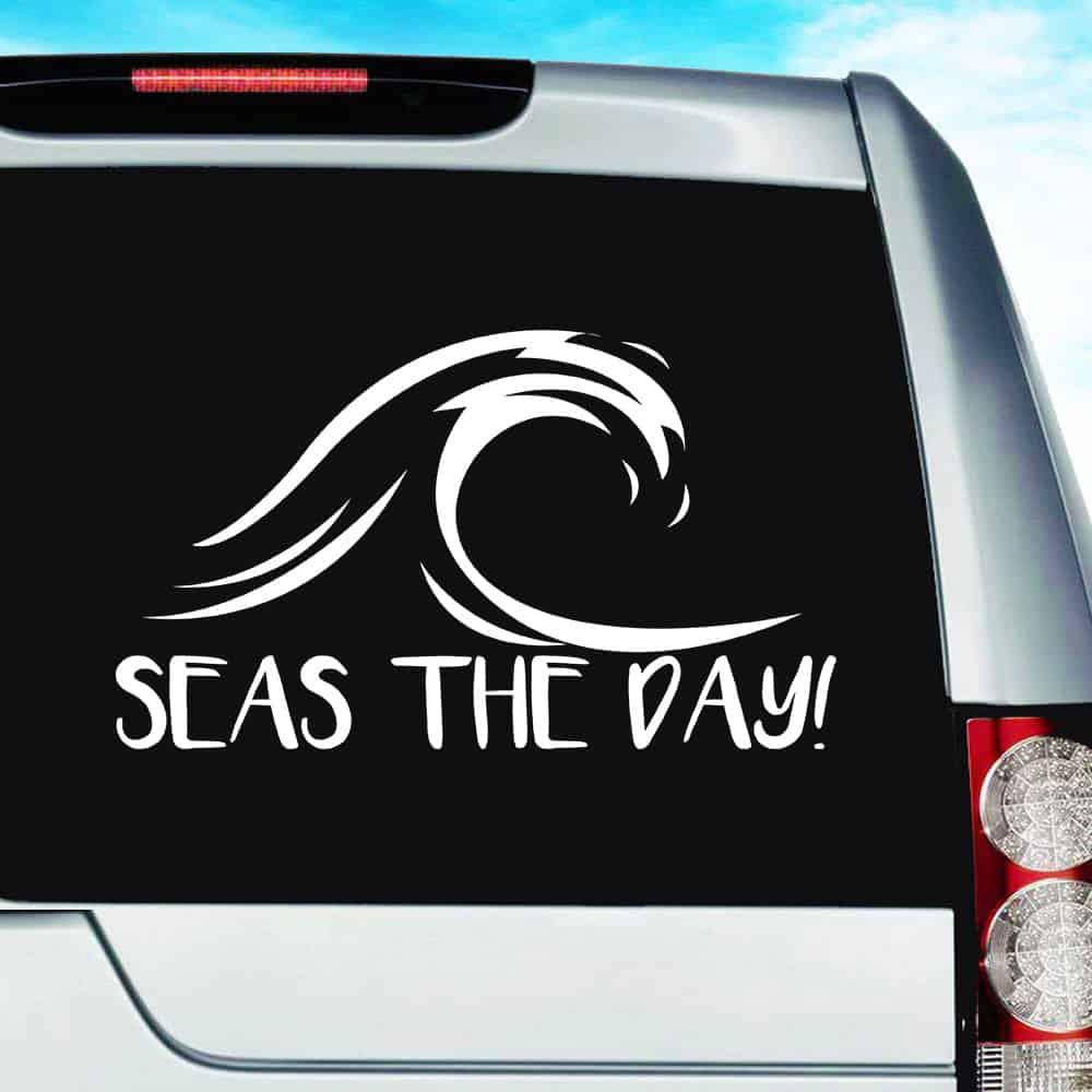 Seas The Day Ocean Wave Vinyl Car Window Decal Sticker