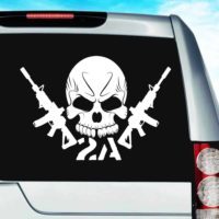 Second Amendment Skull Machine Guns 2 Vinyl Car Window Decal Sticker