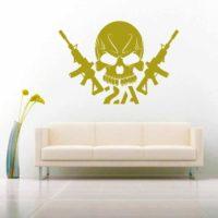 Second Amendment Skull Machine Guns 2 Vinyl Wall Decal Sticker