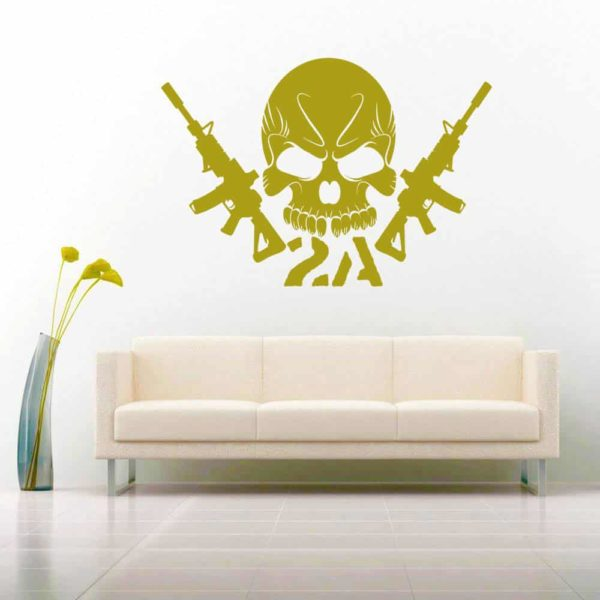 Second Amendment Skull Machine Guns 2 Vinyl Wall Decal Sticker