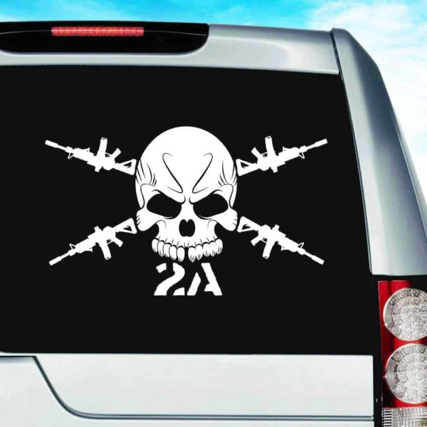 Second Amendment Skull Machine Guns Vinyl Car Window Decal Sticker