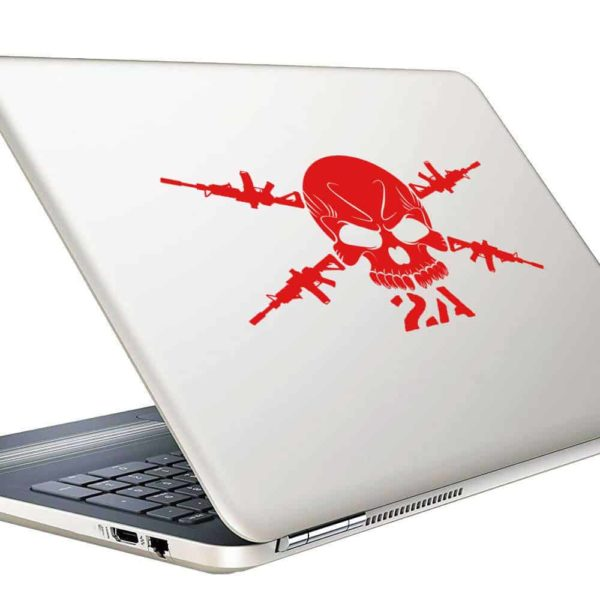 Second Amendment Skull Machine Guns Vinyl Laptop Macbook Decal Sticker