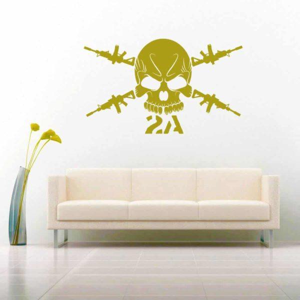 Second Amendment Skull Machine Guns Vinyl Wall Decal Sticker