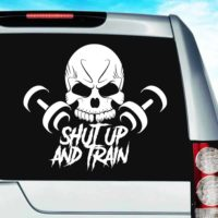 Shut Up And Train Skull Dumbbells_1 Vinyl Car Window Decal Sticker