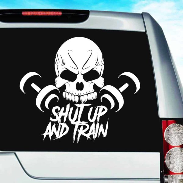 Shut Up And Train Skull Dumbbells_1 Vinyl Car Window Decal Sticker
