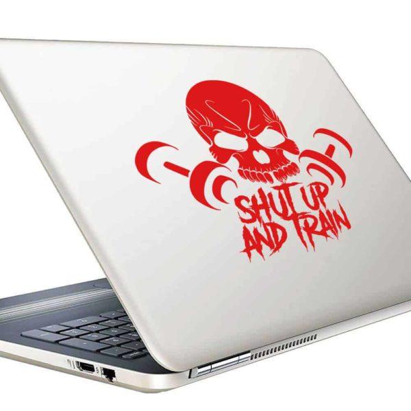 Shut Up And Train Skull Dumbbells_1 Vinyl Laptop Macbook Decal Sticker