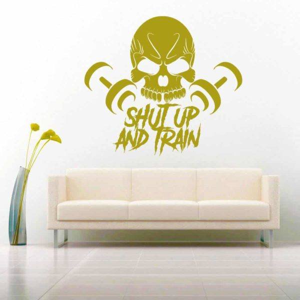 Shut Up And Train Skull Dumbbells_1 Vinyl Wall Decal Sticker