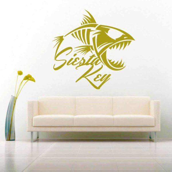 Siesta Key Florida Fish Skeleton Vinyl Wall Decal Sticker
