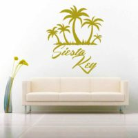 Siesta Key Florida Palm Tree Island Vinyl Wall Decal Sticker