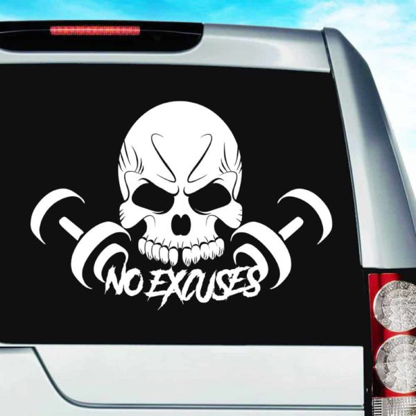 Skull Dumbbell No Excuses_1 Vinyl Car Window Decal Sticker