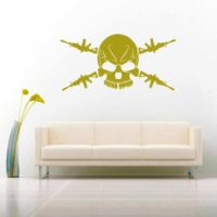 Skull Machine Guns Vinyl Wall Decal Sticker