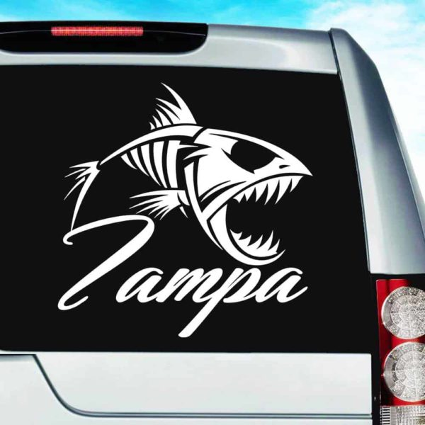 Tampa Florida Fish Skeleton Vinyl Car Window Decal Sticker