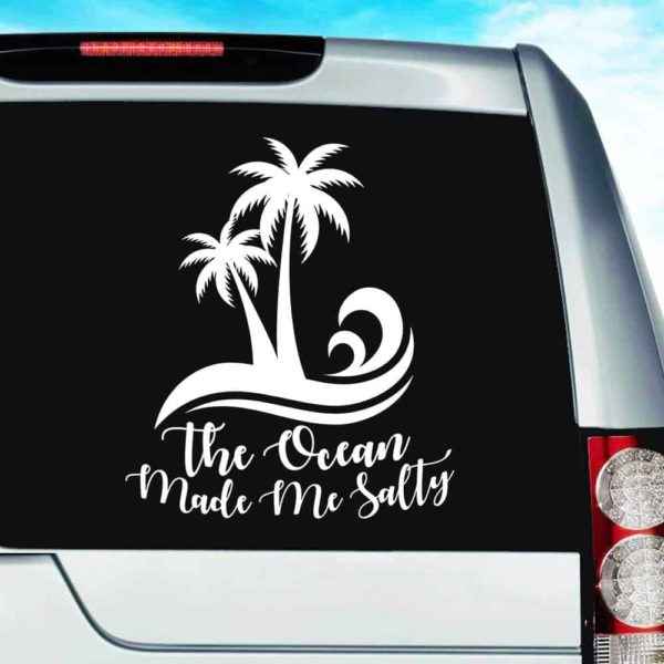 The Ocean Made Me Salty Vinyl Car Window Decal Sticker