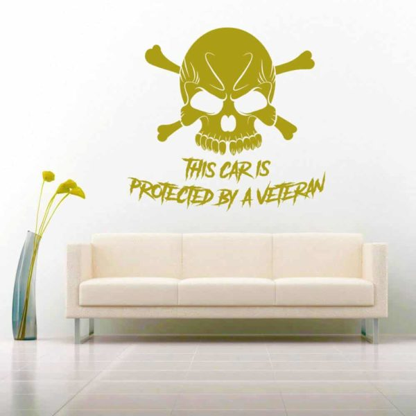 This Car Is Protected By A Veteran Skull Vinyl Wall Decal Sticker