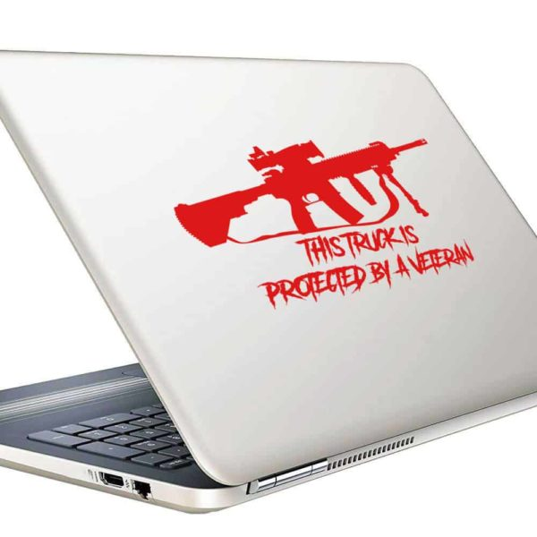 This Truck Is Protected By A Veteran Machine Gun Vinyl Laptop Macbook Decal Sticker