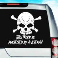 This Truck Is Protected By A Veteran Skull Vinyl Car Window Decal Sticker
