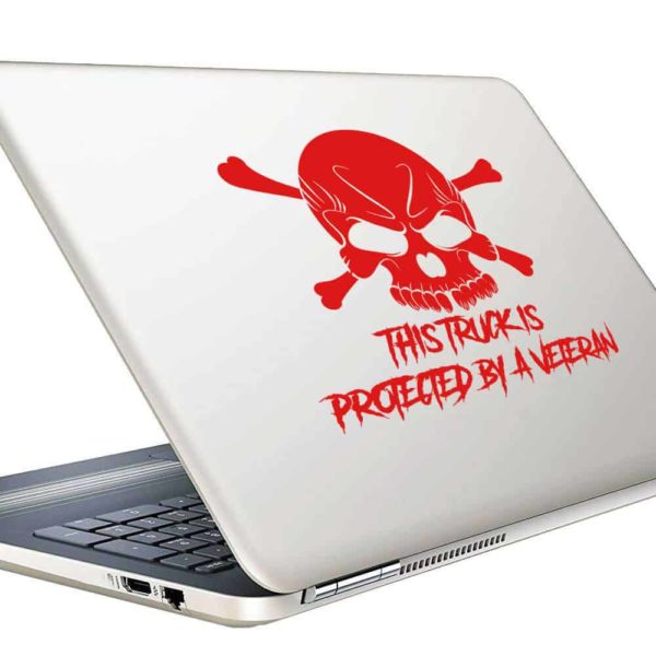 This Truck Is Protected By A Veteran Skull Vinyl Laptop Macbook Decal Sticker
