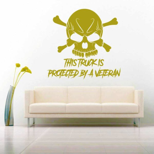 This Truck Is Protected By A Veteran Skull Vinyl Wall Decal Sticker