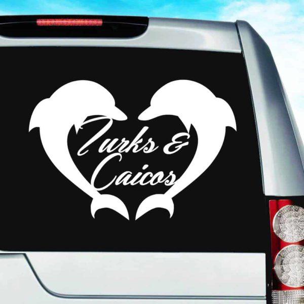 Turks And Caicos Dolphin Heart_1 Vinyl Car Window Decal Sticker