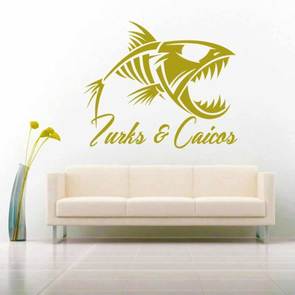 Turks And Caicos Fish Skeleton Vinyl Wall Decal Sticker