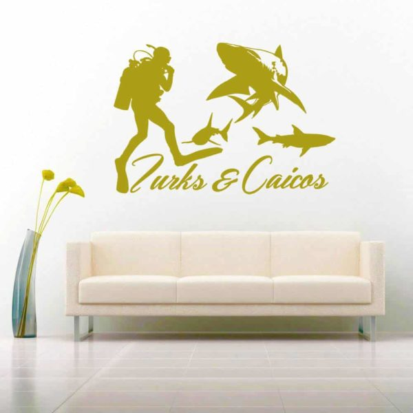 Turks And Caicos Scuba Diver With Sharks Vinyl Wall Decal Sticker