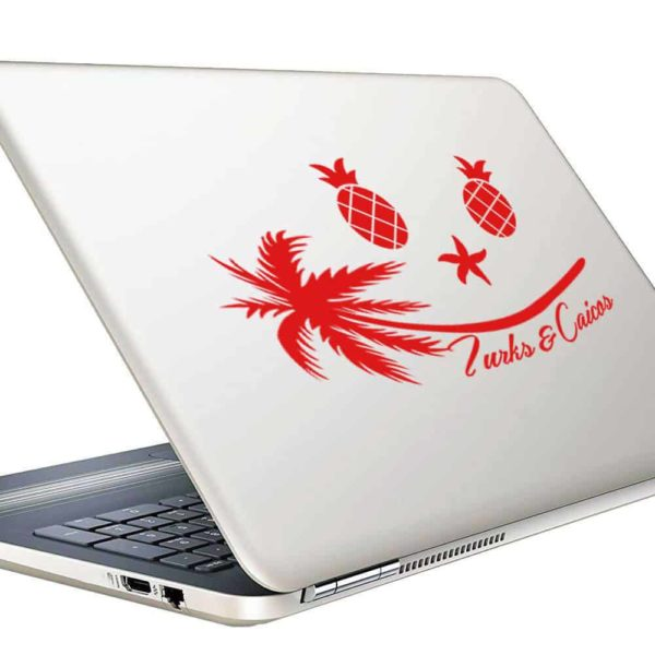 Turks And Caicos Tropical Smiley Face Vinyl Laptop Macbook Decal Sticker