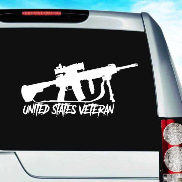 United States Veteran Machine Gun Vinyl Car Window Decal Sticker