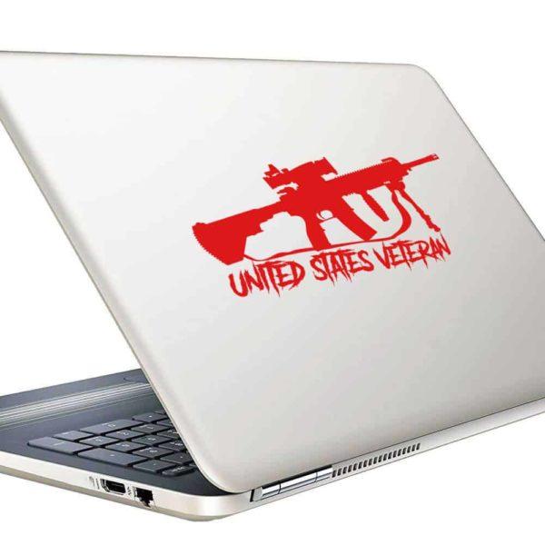 United States Veteran Machine Gun Vinyl Laptop Macbook Decal Sticker