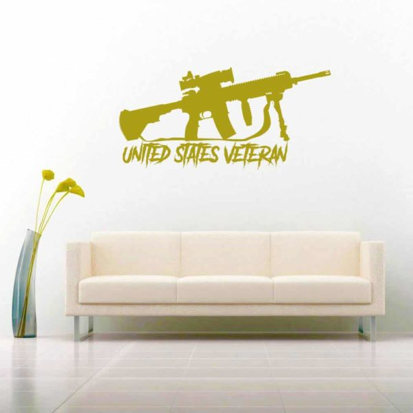 United States Veteran Machine Gun Vinyl Wall Decal Sticker