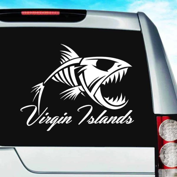 Virgin Islands Fish Skeleton Vinyl Car Window Decal Sticker