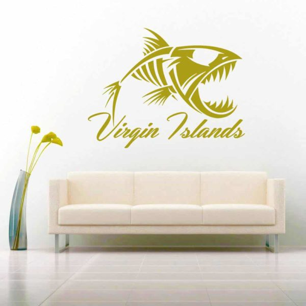 Virgin Islands Fish Skeleton Vinyl Wall Decal Sticker