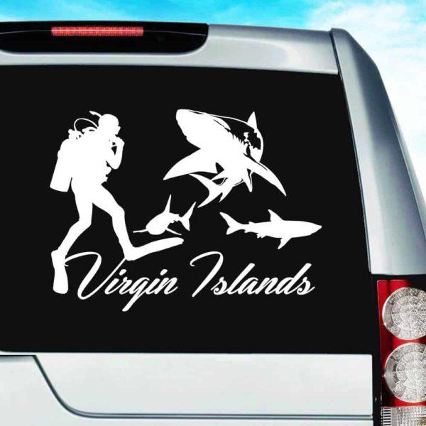 Virgin Islands Scuba Diver With Sharks Vinyl Car Window Decal Sticker