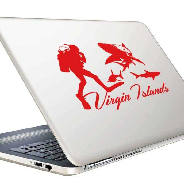Virgin Islands Scuba Diver With Sharks Vinyl Laptop Macbook Decal Sticker