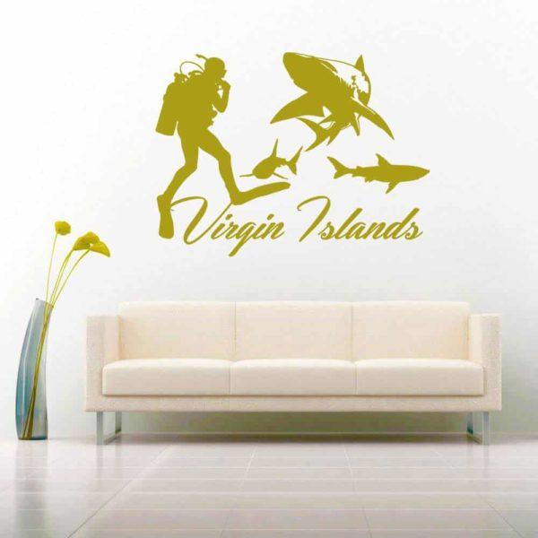 Virgin Islands Scuba Diver With Sharks Vinyl Wall Decal Sticker
