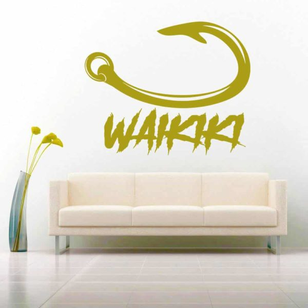 Waikiki Hawaii Fish Hook Ag Vinyl Wall Decal Sticker