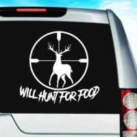 Will Hunt For Food Deer Rifle Scope_1 Vinyl Car Window Decal Sticker