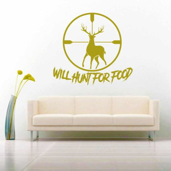 Will Hunt For Food Deer Rifle Scope_1 Vinyl Wall Decal Sticker