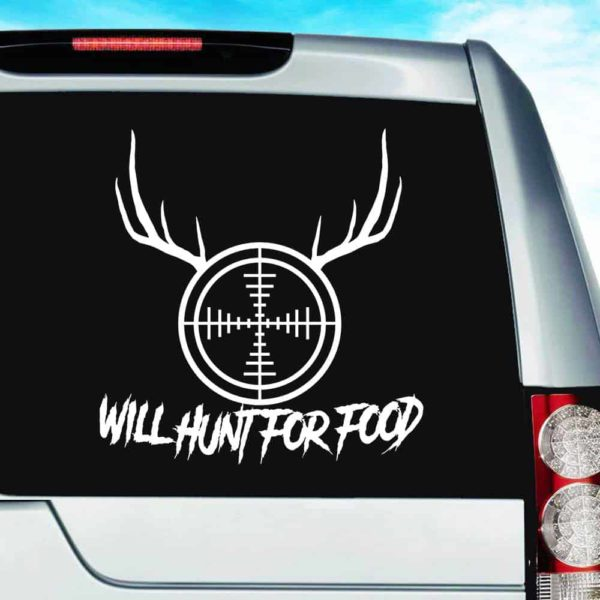 Will Hunt For Food Rifle Scope Antlers_1 Vinyl Car Window Decal Sticker