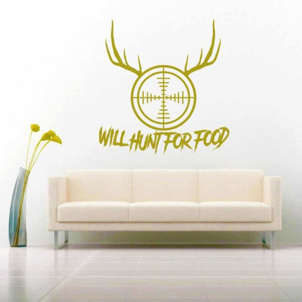 Will Hunt For Food Rifle Scope Antlers_1 Vinyl Wall Decal Sticker