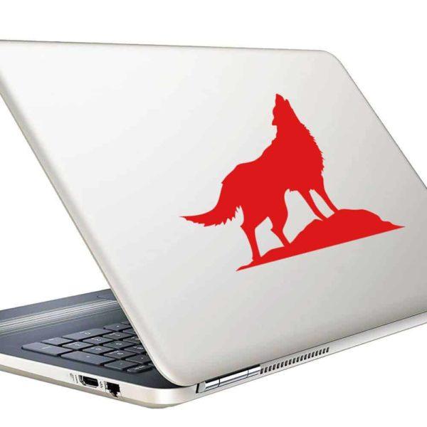 Wolf Howling Vinyl Laptop Macbook Decal Sticker