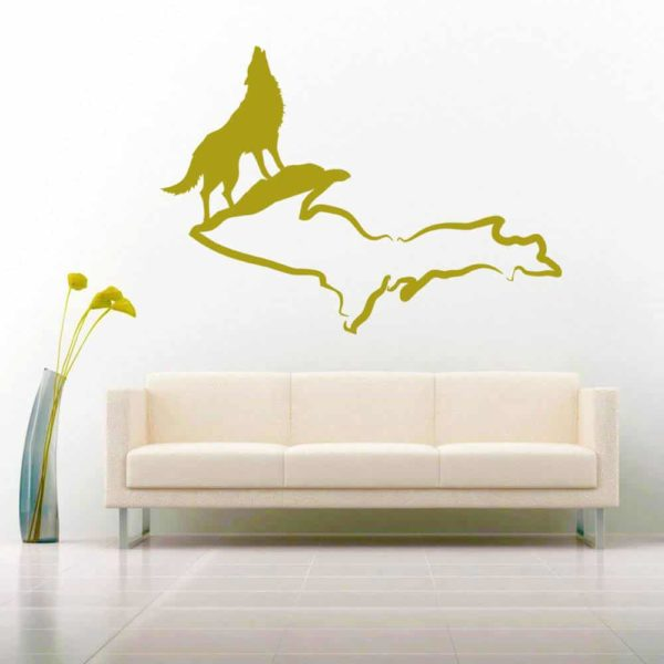 Wolf Michigan Upper Peninsula Vinyl Wall Decal Sticker