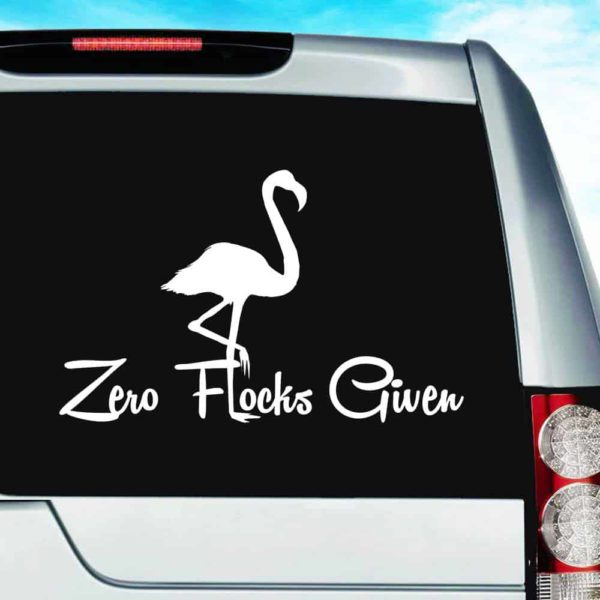Zero Flocks Given Flamingo Vinyl Car Window Decal Sticker